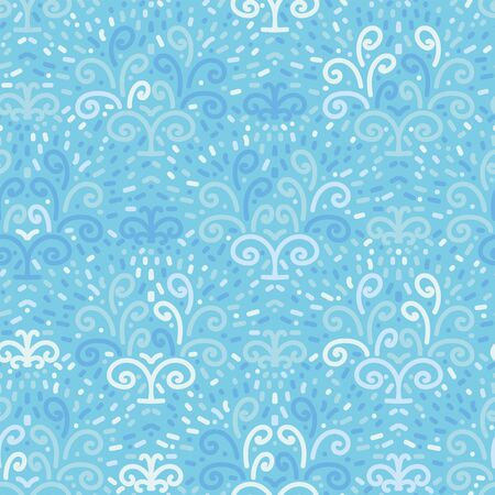 Blue water fountains seamless vector pattern. Fresh water spring surface print design. Great background for environment themed projects. Ilustrace