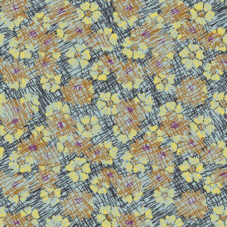Textured flower meadow seamless vector pattern in muted colors. Botanical surface print design. Great for fabrics, stationery and packaging.