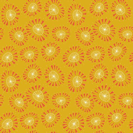 Suns with orange shaped middles seamless vector pattern in vibrant colors. Summer surface print design. Great for fabrics, stationery and packaging.  イラスト・ベクター素材