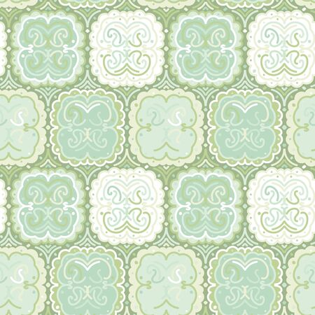 Abstract square tiles mosaic seamless vector pattern in pale mint and jade green colors. Geometric surface print design.