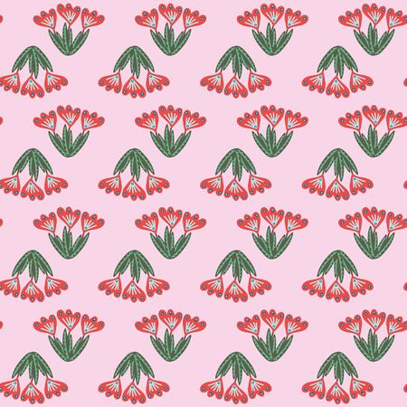 Red folk flowers seamless  pattern on pink background. Decorative feminine surface print design. Great for fabrics, stationery and packaging. Иллюстрация