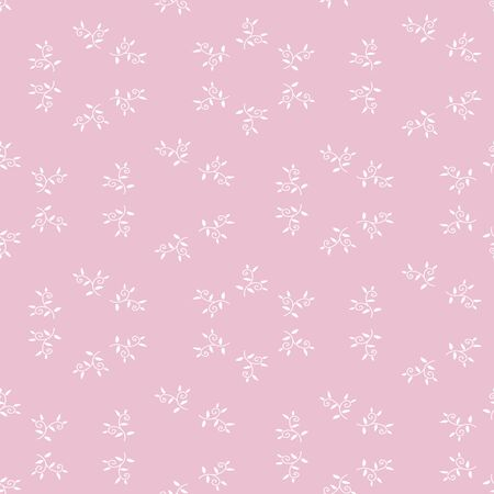 Simple botanical delicate pink seamless pattern. Decorative surface print design. Great for fabrics, cards, wrapping paper and packaging.
