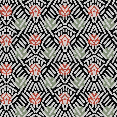 Abstract geometric ethnic seamless pattern with lines and dots. Ilustrace