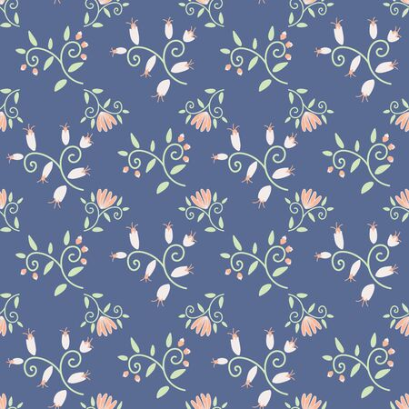 Ornamental flowers seamless pattern on blue background. Decorative feminine surface print design. Great for fabrics, wrapping paper and packaging.