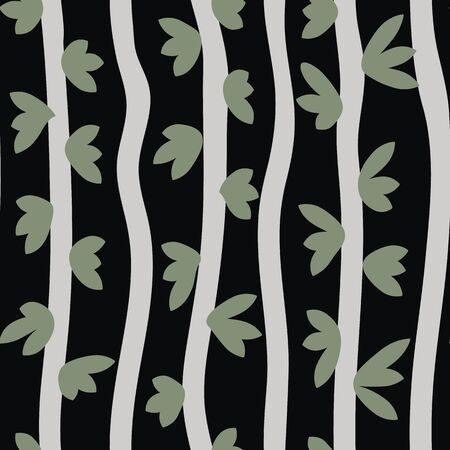 Vertical branches seamless striped pattern. Graphic nature themed surface print design in black green and grey. Dark woodland background.