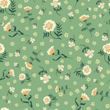 Wild flowers illustrations seamless pattern on green background. Decorative nature themed surface print design. Great for fabrics, wrapping paper, cards, organic products packaging.