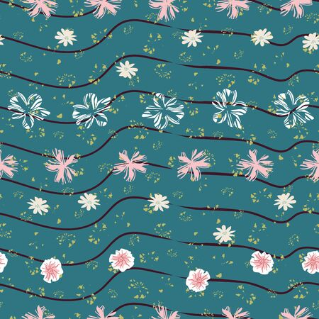Rows of flowers floating on dark teal striped water seamless pattern. Striped surface print design. Great for summertime, wellness and spa. Ilustrace