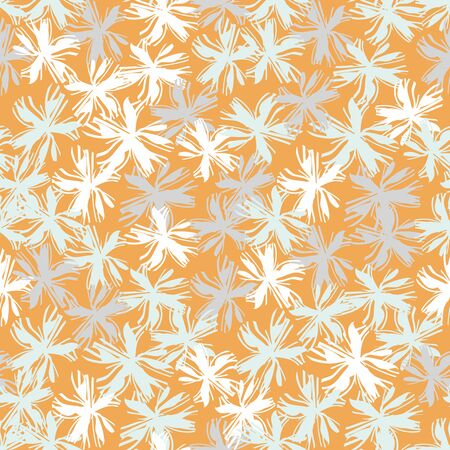 Pale blue and white flowers seamless  pattern on an orange background. Decorative garden themed surface print design. Great for fabrics, stationary and packaging.