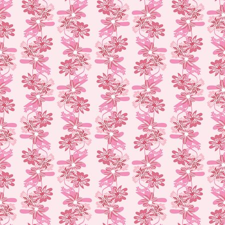 Pink floral vertical stripes seamless monochromatic pattern. Decorative feminine surface print design. Great for fabrics, stationery and packaging.