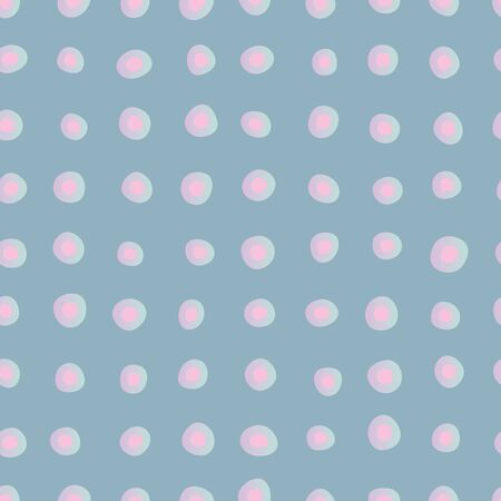 Pink gradient polka dots seamless pattern on blue. Decorative abstract surface print design.