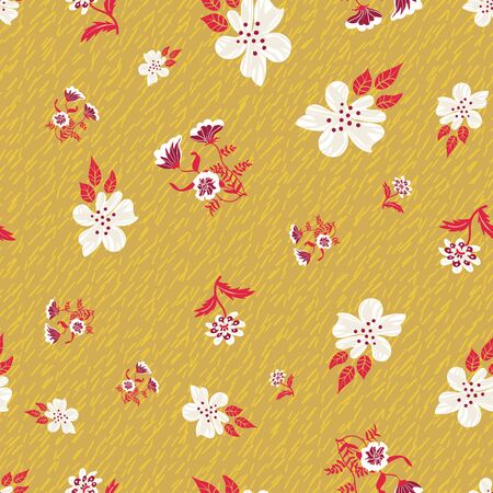 White blooms and red leaves on mustard yellow grass seamless pattern. Decorative graphic surface print design. For natural and organic products, packaging, fashion and home decor. Ilustrace