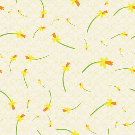 Yellow daffodils seamless pattern. Spring blooms surface print design. Wales national flowers. Great for fabrics, stationery, backgrounds and seasonal graphic design.