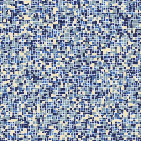 Geometric abstract mosaic seamless pattern in blue colors. Swimming pool tiles surface print design.