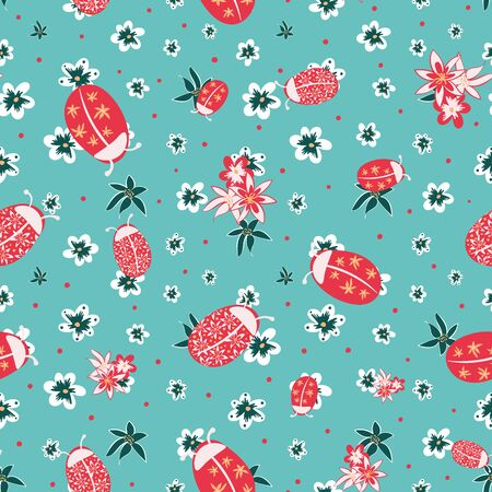 Ladybugs in flower garden seamless vector pattern in blue red teal and white. Decorative childish surface print design. Great for summer fashion, home decor, cards, wrapping paper.