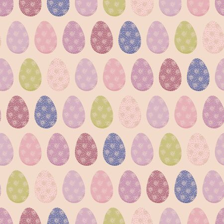 Rows of pastel colored easter eggs seamless vector pattern. Seasonal springtime holiday background. Traditional folk craft. Great for gift wrapping paper, packaging, cards and fabrics. Illustration