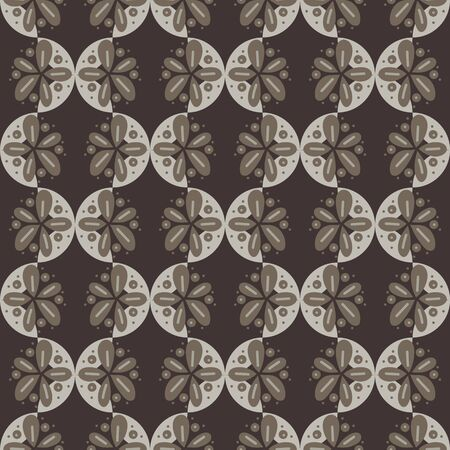 Geometric ornament with floral shapes seamless vector unisex pattern in stone and brown colors. Decorative dark surface print design. Great for backgrounds, fashion, home decor, and packaging.