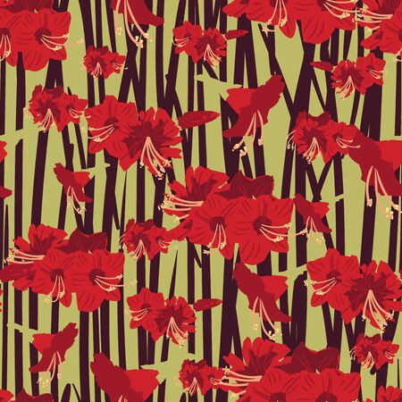 Red amaryllis flowers seamless vector pattern on a vertical striped green and burgundy background. Decorative feminine surface print design with lush blooms. Great for fabrics gift wrap and packaging.