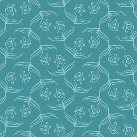 Simple botanical seamless vector teal pattern. Nature themed monochromatic surface print design. Great for wellness and wellbeing products, packaging, stationery, backgrounds and fabric.