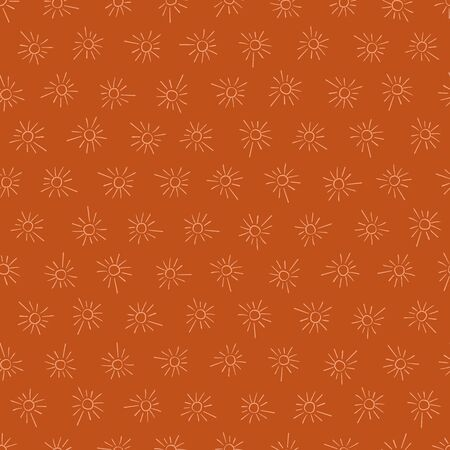 Doodle sun shapes seamless vector orange pattern. Simple surface print design.