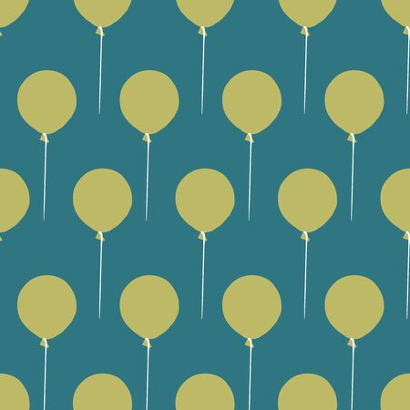 Green baloons seamless vector pattern on teal background. Decorative simple surface print design. Great for birthday and baby shower cards, invitations and wrapping paper.