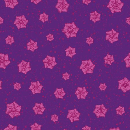Vibrant pink flowers on a textured purple background seamless vector pattern. Decorative surface print design. Great for fabrics, stationery and packaging. Ilustrace