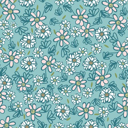 Daisies meadow seamless vector pattern. Decorative feminine nature themed surface print design. Great for wellness and natural scented products packaging, fabrics, cards, and wrapping paper. Ilustrace