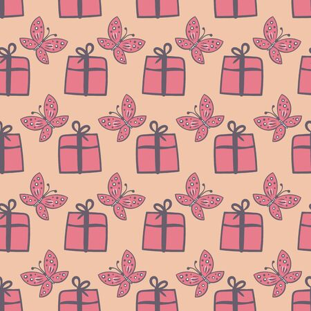 Gift boxes and butterflies seamless vector pink pattern. Surface print design. Great for birthdays, baby showers, cards, invitations, weddings, wrapping paper and packaging.