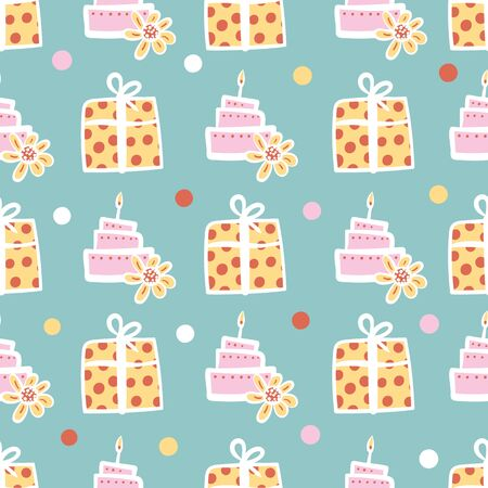 Birthday cakes and gifts seamless vector pattern in pastel colors. Childish party surface print design. Great for cards, gift wrapping paper, and invitations. Ilustrace