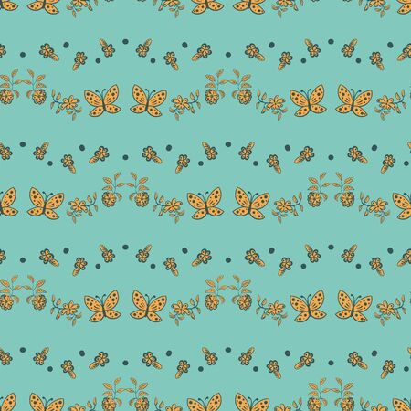 Flowes and butterflies wavy stripes seamless vector pattern. DEcorative surface pritn design in teal and yellow. Great for fabrics, stationery and packaging.