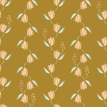 Pink floral stripes on a golden yellow background seamless vector pattern. Decorative feminine surface print design. Great for backgrounds, cards, invitations, gift wrap, beauty products packaging.