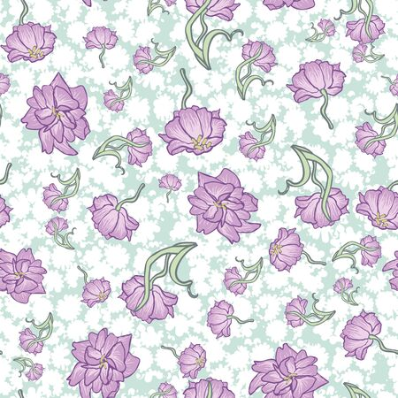 Lilac tulips tossed into air seamless vector springtime pattern. Girly surface print design in pastel colors. Great for fabrics, scrapbook paper, gift wrap and packaging.