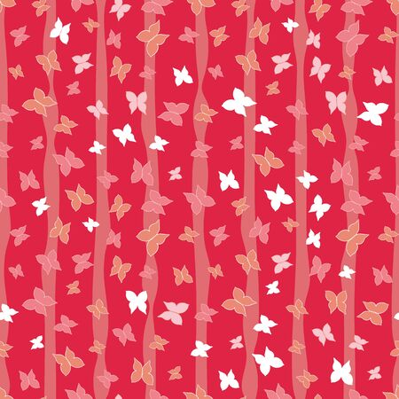 Coral and red butterflies and vertical stripes seamless vector pattern. Decorative girly surface print design in warm colors. Great for fabrics, stationery and packaging. Ilustrace