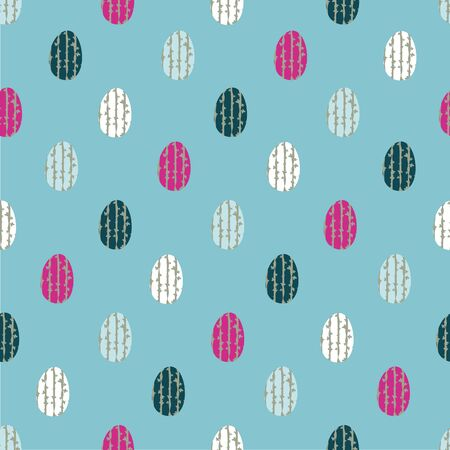 Easter eggs seamless vector pattern on blue background. Decorative simple surface print design. Great for holiday greeting cards, invitations, fabric, wrapping paper and packaging Ilustrace