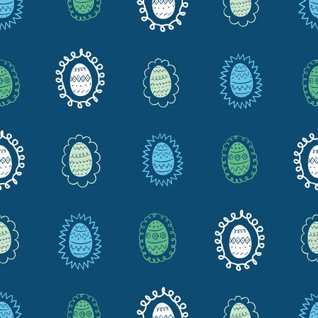 Seamless vector doodle pattern with easter eggs. Seasonal surface print design on a blue background.