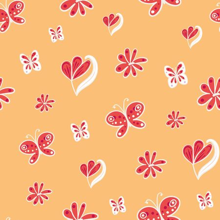 Flowers and butterflies seamless vector pattern in red and yellow. Girly surface print design. Great for summertime fabrics, cards, scrapbook paper, gift wrap and packaging.