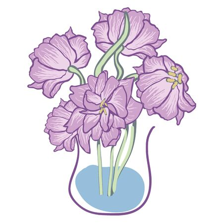 Purple parrot tulips in vase vector illustration. Decorative floral placement print. Great for stationery.