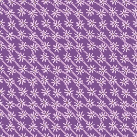 Purple floral diagonal stripes seamless vector pattern. Graphic nature themed girly surface print design. Great for fabrics, stationery, and packaging. Ilustrace