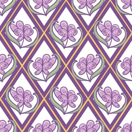 Geometric seamless vector pattern with purple flowers and hidden butterflies in diamond grid. Girly ornamental surface print design. Great for packaging, stationery and fabrics.