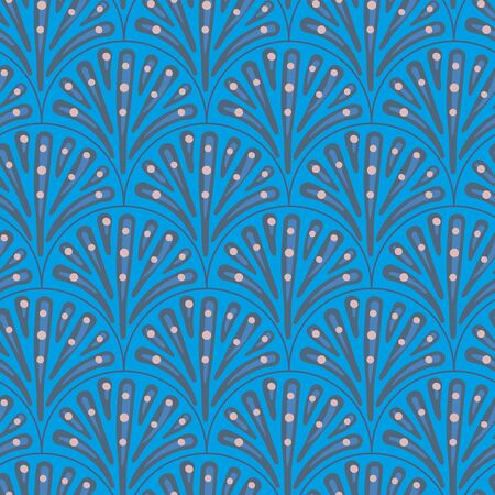 Peacock tail seamless vector blue pattern. Feathers ornamental surface print design. Great for backgrounds, scrapbook paper, gift wrap, and packaging.
