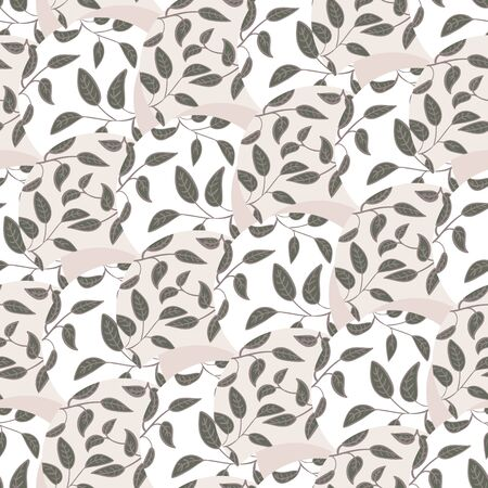 Leaves seamless vector pattern in neutral colors. Decoraative surface print design. Great for backgrounds, fabrics, stationery and packaging.