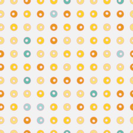 Colorful little doughnuts polka dots seamless vector pattern on a white background. Delicious snack surface print design.Great for fabrics, wrapping paper, menus, gift wrap, packaging, and cards. Ilustrace