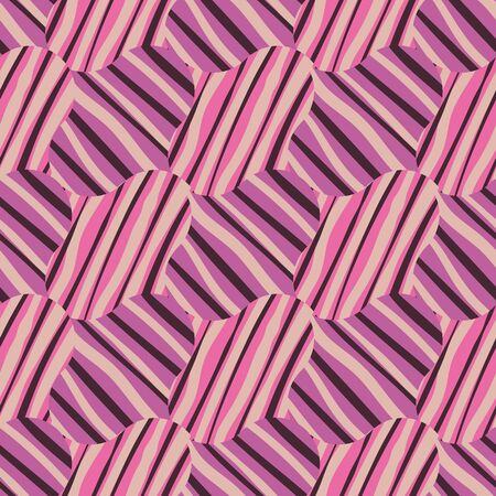 Abstract geometric seamless vector patternin vibrant purple and pink. Decorative surface print design.