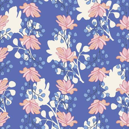 Beautiful pink flowers seamless vector pattern on cornflower blue background. Feminine surface print design with hand drawn florals. Great for fabrics, gift wrap, scrapbooking, cards and packaging.