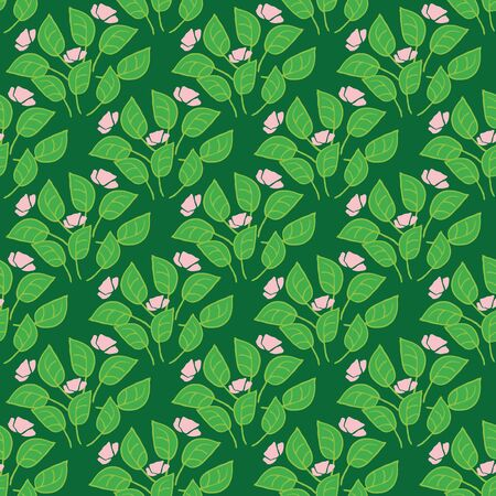 Groups of green plants with pink flowers seamless vector pattern. Botanical surface print desgin. Great for fabrics, gift wrapping paper, greeting cards, backgrounds, and packaging.