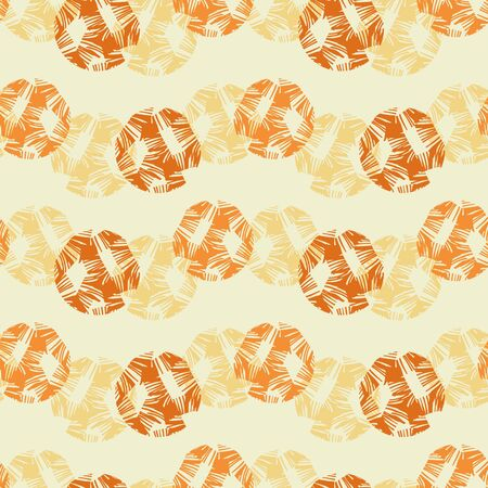 Rows of orange and yellow dots seamless vector pattern. Abstract geometric surface print design.