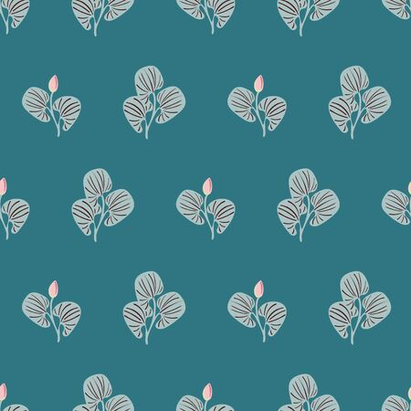 Leaves and buds seamless vector botanical pattern on a teal background. Simple nature themed surface print design.
