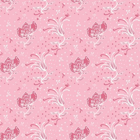 Pink ornamental flowers seamless vector pattern. Monochromatic girly surface print design. For backgrounds, fabrics, scrapbooking, wrapping paper and packaging.