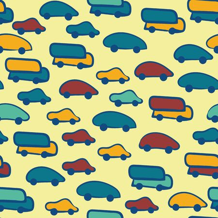 Colorful childish cars and trucks seamless vector pattern. Yellow, teal, blue and red vehicles seamless vector pattern. Great for children home decor, fabrics, stationery and packaging.