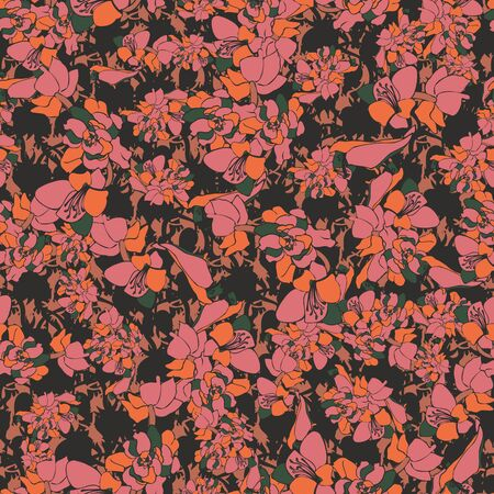 Pink moody textured floral seamles vector pattern on a dark background. Nature themed feminine surface print design. For fashion and home decor fabrics, stationery and packaging.