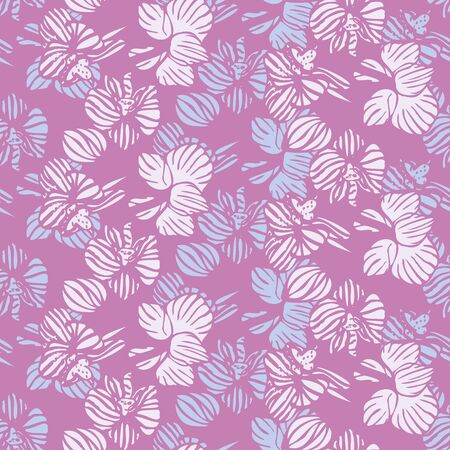 Violet orchids striped seamless pattern. Decorative girly surface print design with tropical flowers. Foto de archivo - 143291109